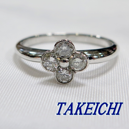 750YG★リング ダイヤモンド0.4ct/花◇14+号【中古】/10018136
