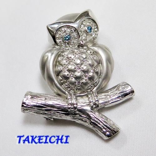 K18WG★ブローチ&ペンダントトップ ダイヤモンド0.34ct フクロウモチーフ【中古】/10019563