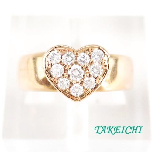 K18PG ★リング ダイヤモンド0.28ct ハート●11.5号 【中古】/10020191