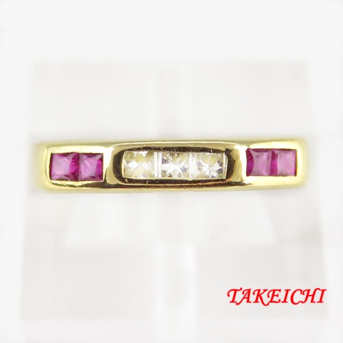 K18 ★ルビー0.35ct/ダイヤモンド0.25ct ●19-号【中古】/10021485