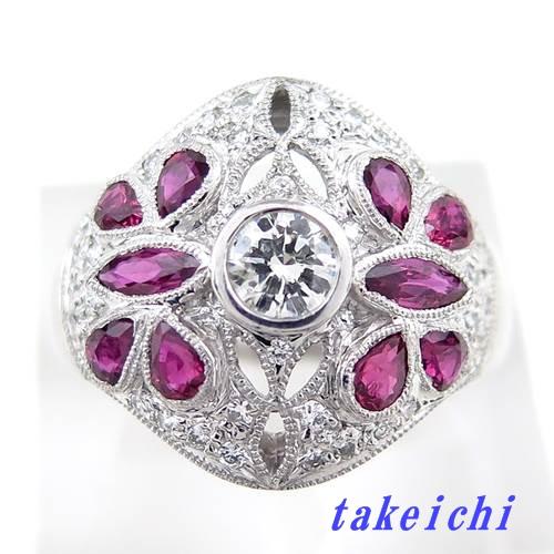 Pt900 ★リング ◇ダイヤモンド0.21ct ◆ルビー1.23ct ●16号【中古】/10018850