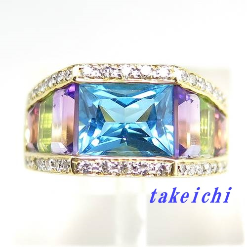 K18YG ★リング カラーストーン ◇ダイヤモンド0.27ct ●15.5号【中古】/10020276