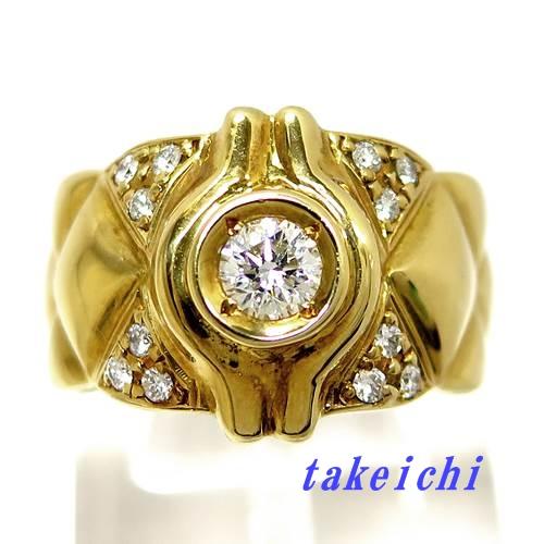 K18YG ★リング ダイヤ ◇ダイヤモンド0.43/0.33ct ●21.5号 【中古】/10020714