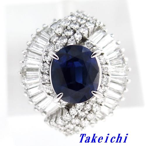 Pt900 ★リング サファイア1.87ct ◇ダイヤモンド1.61ct ●12号 ◆ソーティング付き 【中古】/10019727