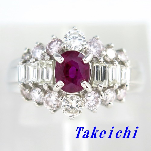 Pt900 ★リング ルビー0.84ct ◇ダイヤモンド1.23ct ●10.5号 ◆ソーティングき 【中古】/10020010