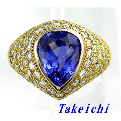 K18YG ★リング サファイア4.14ct ◇ダイヤモンド1.05ct ●11.5号 ◆鑑別書付き 【中古】/ 10020180