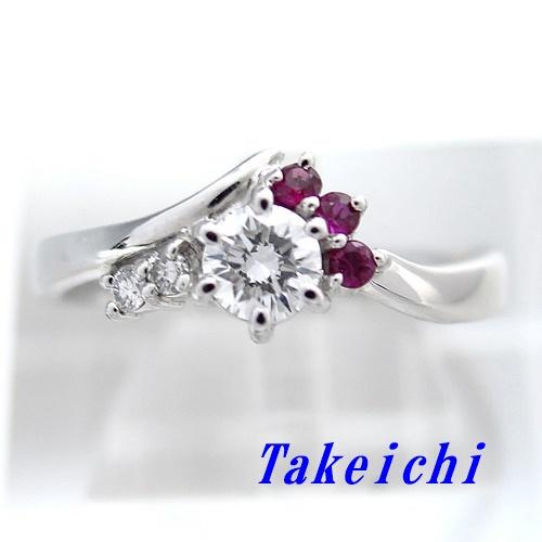 Pt900 ★リング ルビー0.080ct/0.040ct ◇ダイヤモンド0.301ct ●12号 【中古】/10020423
