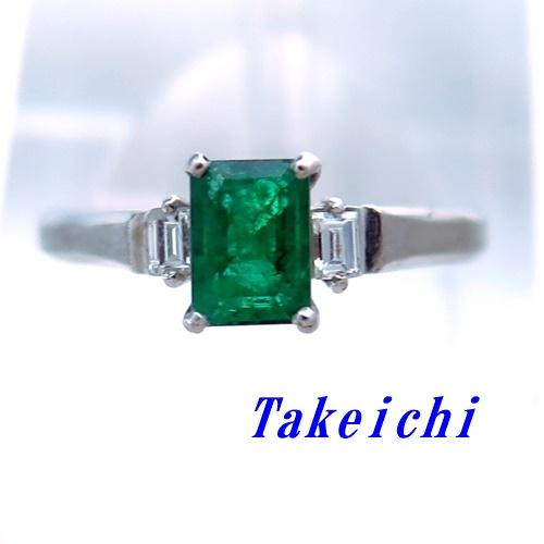 Pt ★リング エメラルド ◇ダイヤモンド ●15号 【中古】/10021510