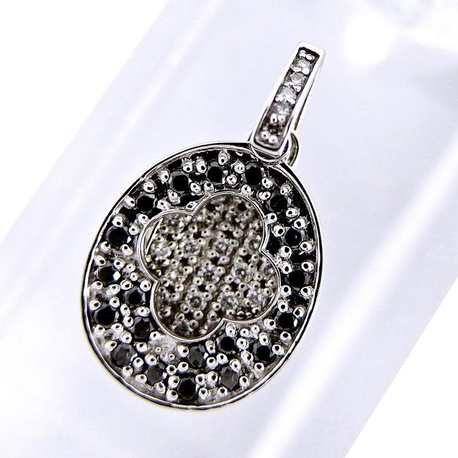 送料無料 ジュエリー ホワイトゴールド K18WG ペンダントトップ 店舗 人気ショップが最安値挑戦 ブラックダイヤモンド 4月誕生石 29656 新品仕上げ済み ソーティング付き 中古