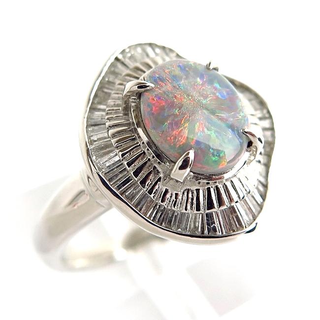 送料無料 ジュエリー アクセサリー 宝飾 Pt900 プラチナ リング 指輪 ブラックオパール1.04ct ダイヤモンド0.54ct サイドストーン 中古 10月 お中元 18832 ソーティング付き m8382 贈物 エレガント 誕生石 新品仕上げ