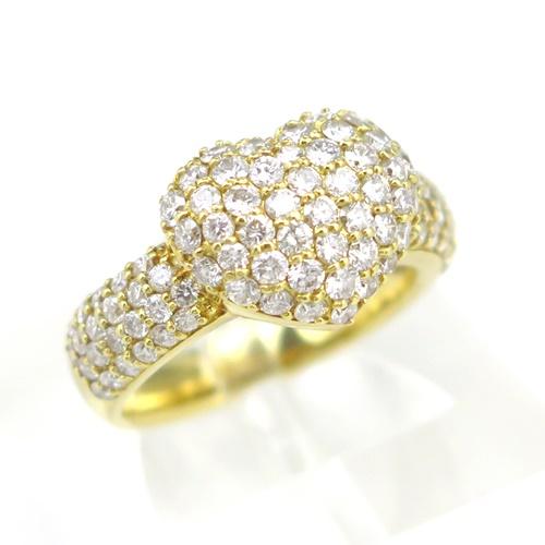 【ポンテヴェキオ】K18YG ★リング ◇ダイヤモンド1.500ct ハートのモチーフ ●10号【中古】/10019574