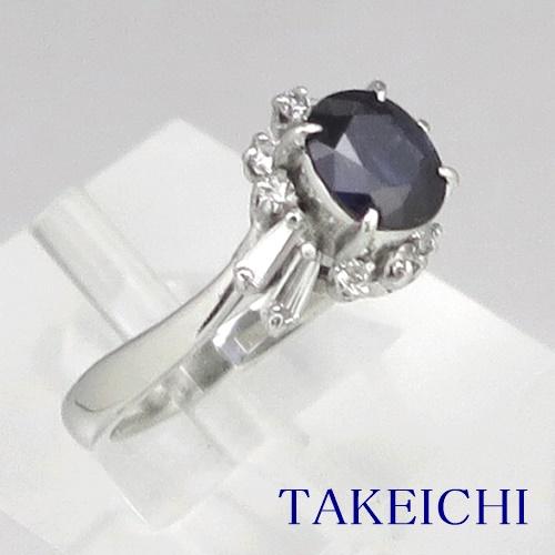 Pt900 ★リング ★サファイア 1.280ct ◇ダイヤモンド 0.330ct ●11号 ◆【中古】/10019945