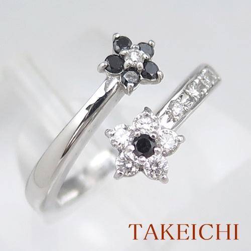 K18WG ★リング ◇ブラックダイヤモンド 0.120ct ◇ダイヤモンド 0.230ct ●11号 ◆ソーティング付き【中古】/10019965