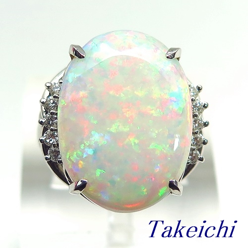 Pt900 ★リング オパール 6.900ct ◇ダイヤモンド 0.16ct●12.5号 ◆【中古】/10020360