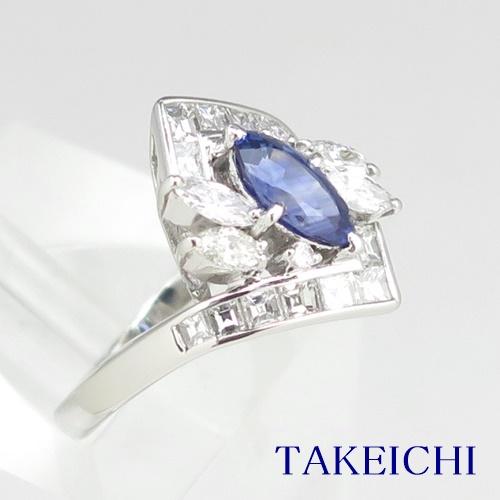 Pt900 ★リング ★サファイア 1.110ct ◇ダイヤモンド 1.320ct ●13号 ◆【中古】/10020398