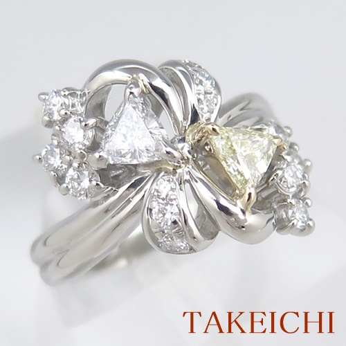 Pt900/K18YG ★リング ◇ダイヤモンド 0.370ct/0.450ct ●7号 ◆【中古】/10020889