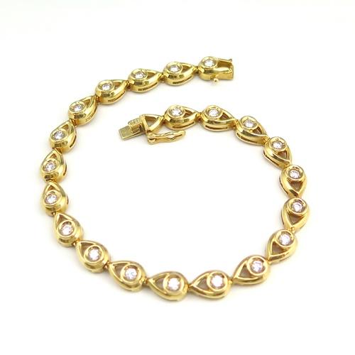 K18YG ★ブレスレット ダイヤ ◇ダイヤモンド1.000ct ●18.1cm【中古】/10021555