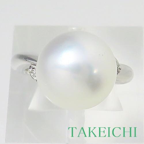 Pt900 ★リング パール 12.7mm ◇ダイヤモンド0.04ct ●11号 【中古】/10021740
