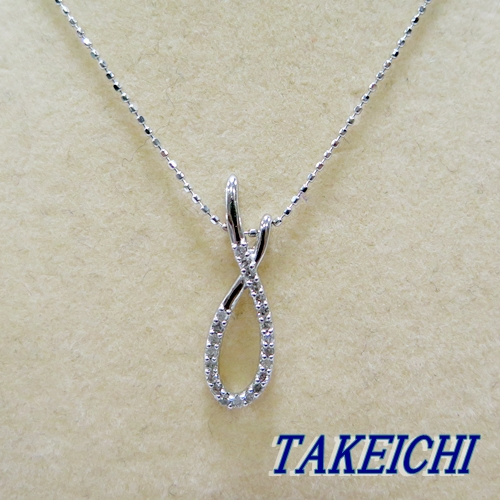 K18WG★ネックレス ダイヤモンド0.146ct◇38cm【中古】/10005198