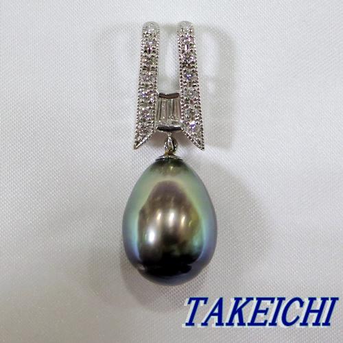 pt900★ペンダントトップ 黒蝶真珠11.5ミリ/ダイヤモンド0.27ct【中古】/10005615