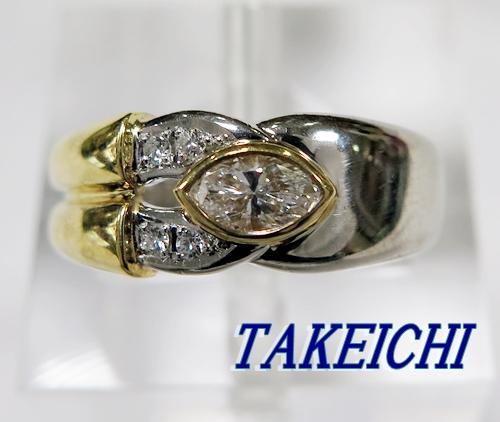 PT900/K18YG★リング ダイヤモンド0.25ct/ダイヤモンド0.03ct ◇11.5号【中古】/10020231