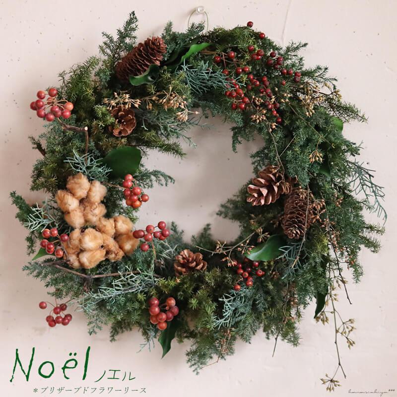 【 送料無料 】ノエル * ブラウンコットンと赤い木の実がかわいい大人シックなクリスマスリース * プリザーブドフラワー