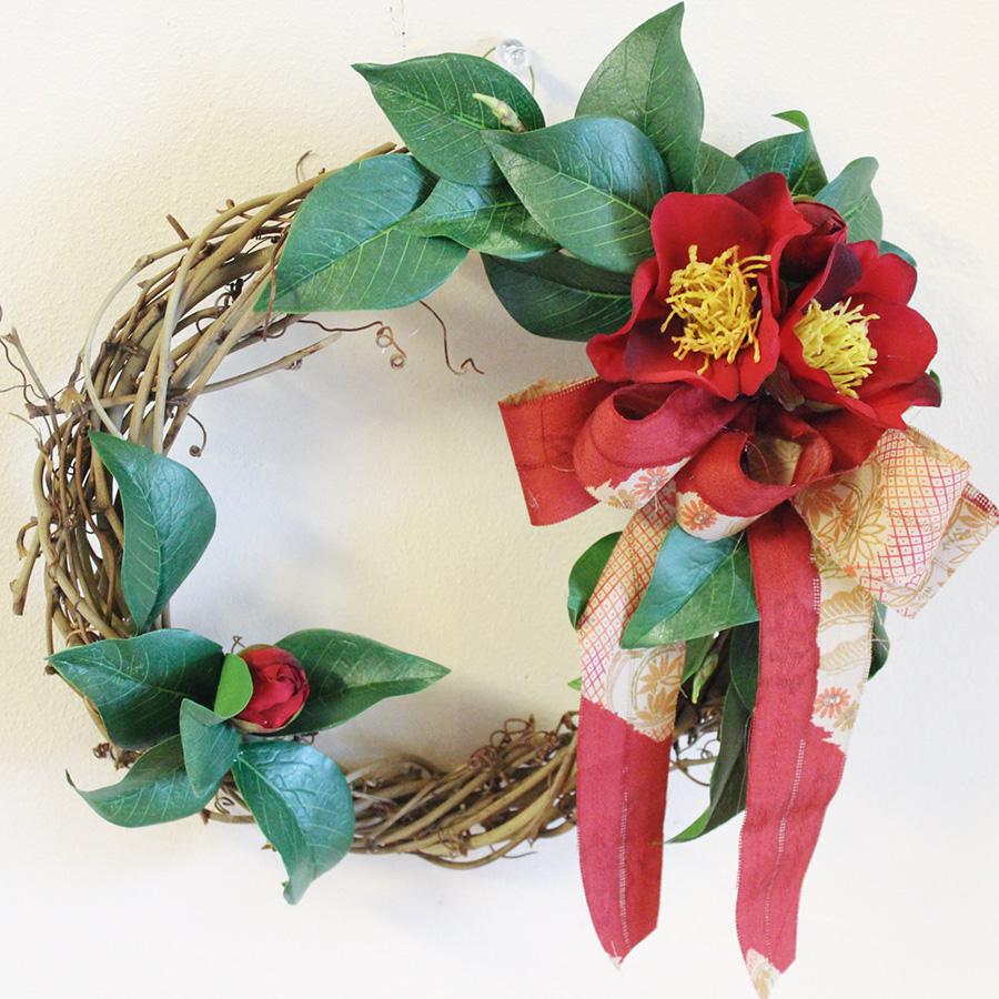 椿のリース/アーティフィシャルフラワー お正月飾り 北海道 和風 造花 ナチュラル インテリア モダン 玄関外 外用