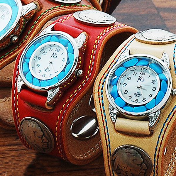 ケーシーズ KC'S ケイシイズ ケイシーズ kc,s kcs 3コンチョ ウォッチブレス ダブルステッチ ターコイズ /牛革腕時計ターコイズ文字盤 送料無料 本革 メンズ レディース 革 レザー 刺繍 とけい