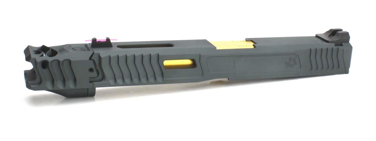NOVA 東京マルイ Glock17/22/34対応 Loki Tactical Uncle Gaspachoタイプ カスタムスライドセット グレースライド/ゴールドバレル