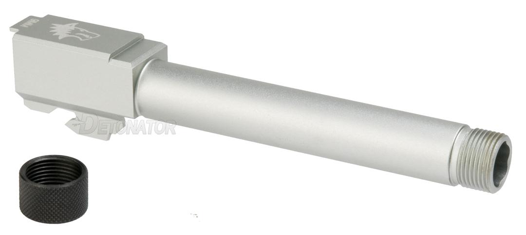 DETONATOR 東京マルイ Glock17/18対応LONE WOLFタイプM14正ネジサイレンサー対応アルミアウターバレル&ネジカバーセット-シルバー 2016Ver M14正ネジ仕様
