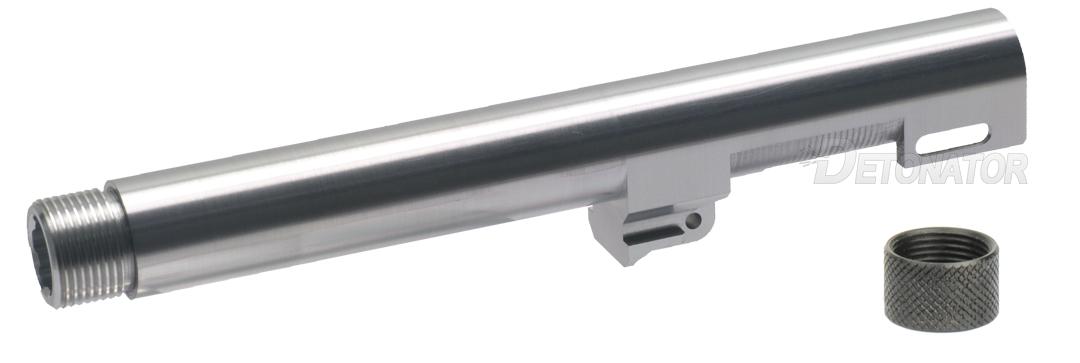 DETONATOR 東京マルイ M9A1用 Gemtechタイプ サイレンサー対応アルミアウターバレル シルバー M14正ネジ