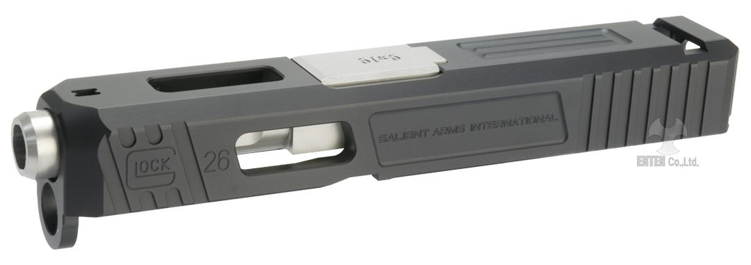 GunsModify 東京マルイ Glock26用 SalientArms Glock26タイプカスタムスライド ブラック/シルバーバレル