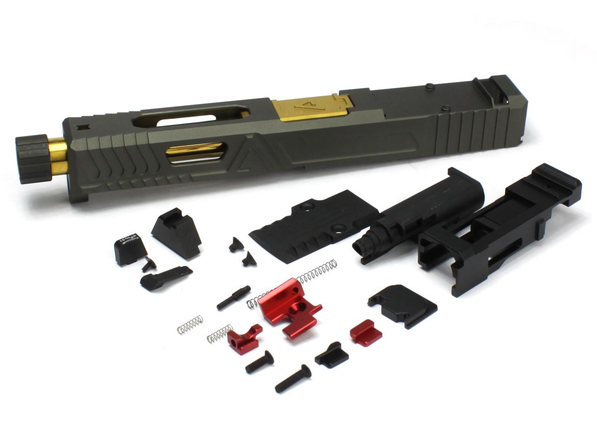 ノーブランド WE Glock17,18C対応 AgencyArms UrbanCombatタイプカスタムスライド M14逆ネジ仕様ゴールドバレル