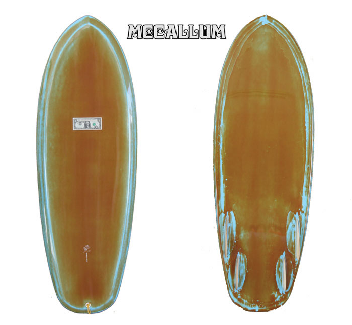 "MCCALLUM SURFBOARDS maccaramsayf Board MFORD model: 5 ' 4 ""jeffmaccaramsheap"