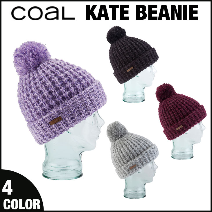 d39ef16d18548 The waffle knit beanie edited by two colors of thread plying has a cute  upper extra-large bonbon.