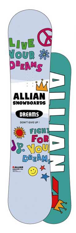 ALLIAN SNOWBOARDS DREAMS 2018/2019アライアン スノーボード ドリームス 105,115送料無料!18-19ベースワックス+全温度対応滑走WAXサービス! CAPITA工場製造 子供用最高級スノーボードmade in austria