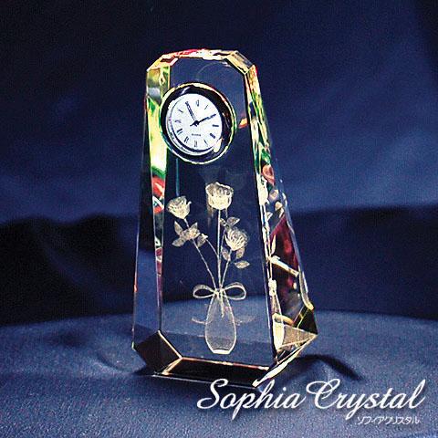 クリスタルファンタジー薔薇 時計付き60x120x40mm
