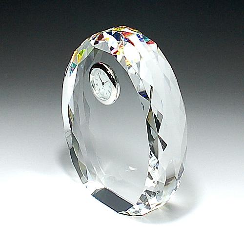 クリスタルガラス盾 時計付き底面ホログラム加工110x130x35mm