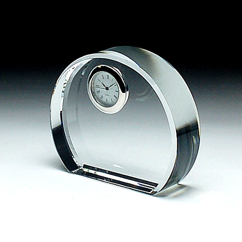 クリスタルガラス盾 時計付き100x85x30mm