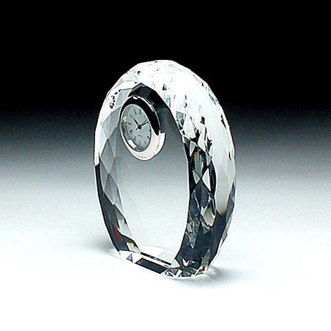 クリスタルガラス盾 時計付き85x100x30mm