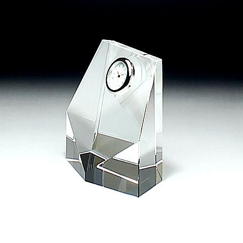 クリスタルガラス盾 時計付き100x100x50mm