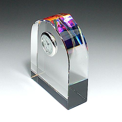 クリスタルガラス盾 時計付き底面ホログラム加工80x100x30mm