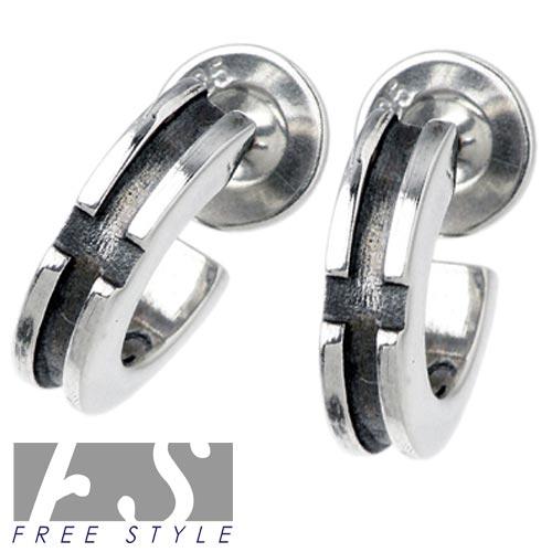 【フリースタイル】FREE STYLE ピアス レディース シルバー ジュエリー ペア クロス フープ 925 スターリングシルバー FSE-014-P