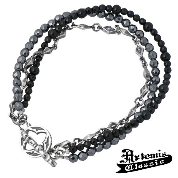 Artemis Classic【アルテミスクラシック】 ブレスレット メンズ ピラミッド ヘマタイト オニキス ACB0087