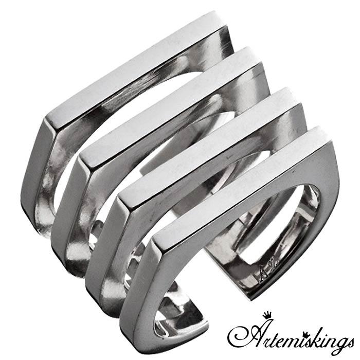【アルテミスキングス】Artemis Kings 4連印台 シルバー ジュエリー リング 指輪 15号~21号 AKR0042