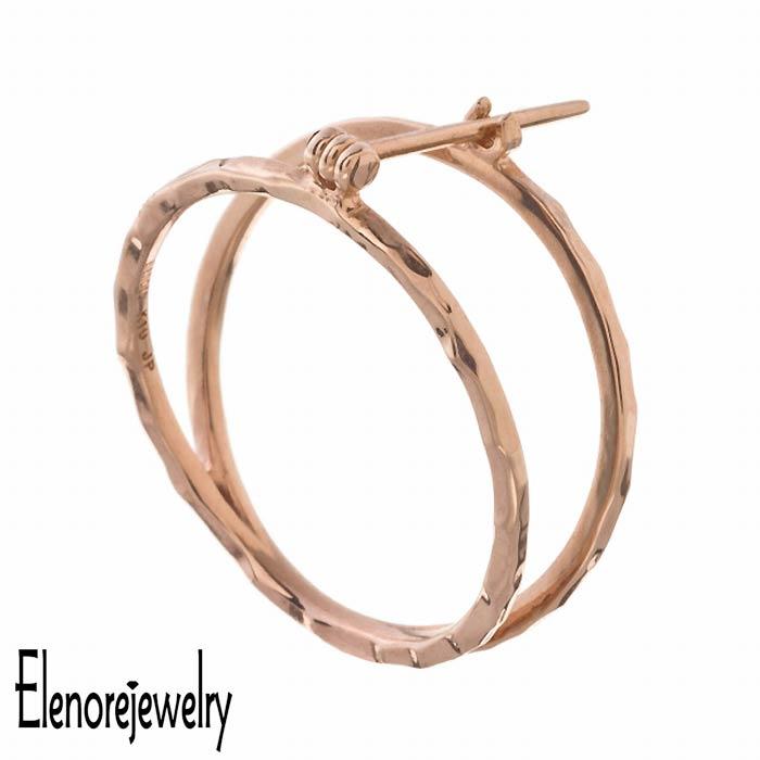 【エレノアジュエリー】Elenore Jewelry 10K ゴールド ピアス レディース サークル 片耳用 1個売り ELE0004
