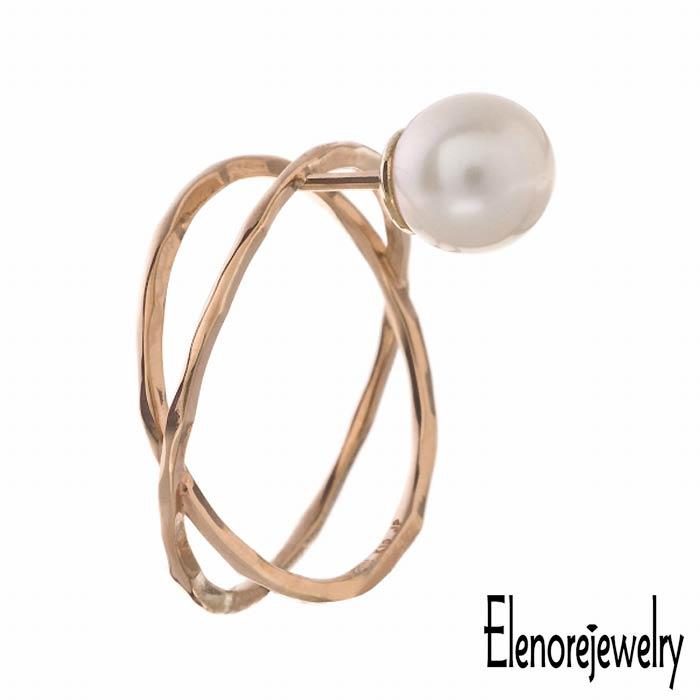 【エレノアジュエリー】Elenore Jewelry 10K ゴールド ピアス レディース パール X スタッド 片耳用 1個売り 真珠 ELE0005