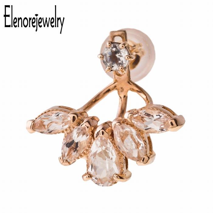 エレノアジュエリー Elenore Jewelry 10K ゴールド ピアス レディース ブルーム トパーズ イヤージャケット 片耳用 1個売り ホワイトトパーズ ELE0007