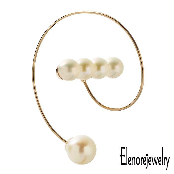 【エレノアジュエリー】Elenore Jewelry 10K ゴールド ピアス レディース 10金 パール バースパイラルフープ 片耳用 1個売り ELE0013