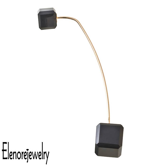エレノアジュエリー Elenore Jewelry 10K ゴールド ピアス レディース 10金 オニキスキューブピン 片耳用 1個売り ELE0023